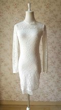 Ivory White Long Sleeve Round Neck Full Lace Short Dress Alternative Wedding NWT image 1