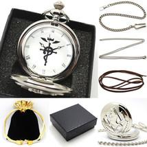 New Silver Fullmetal Alchemist Quartz Pocket Watch Necklace Leather Chai... - $19.79