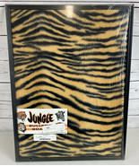 Jungle Bulletin Board 1970 Framed Furry Board Tiger Pattern Vintage RARE... - $65.65