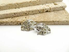 Vintage Sarah Coventry White Rhinestone Silver Tone Clip On Earrings JJ21 - $15.99