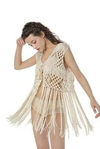 Acemi Sleeveless Crochet Long Tassels Fringe Vest 70s Cover up Hippie Cl... - $30.62