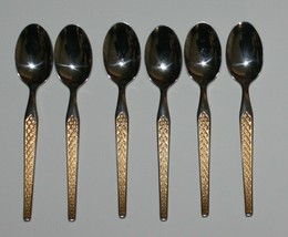 6 Demitasse Spoons by Wirths Stainless Germany Gold Accent Diamond Pattern - $34.60