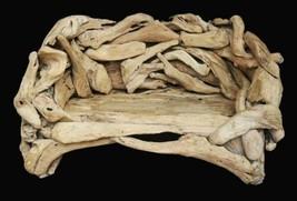 Grand Natural Teak Bench Coastal Driftwood Design - $2,540.43