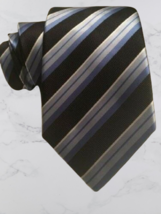 "Mens Tie CROFT & BARROW Blue Black Striped Handmade 59"" Length x 3.25"" W... - $15.99"