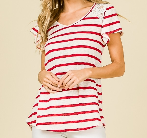 Striped Relaxed Top, Red Striped Lace Detailing, Short Sleeve, Womens, Red Whit