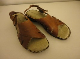 EUC Brown Naturalizer Womens strappy Shoes Sandals Leather upper Sz 8M no wear - $39.59