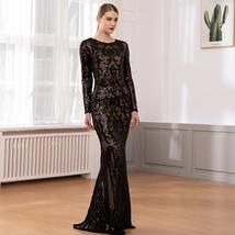 Elegant Long Sleeve Stretch Black Sequined Evening Party Dress Floor Length Blac