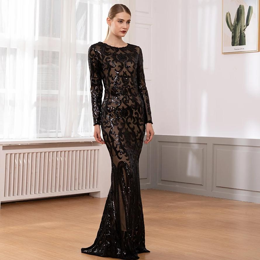 Ull sleeved o neck gold sequined evening party dress stretch floor length bodycon burgundy black