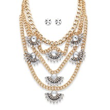 PalmBeach Jewelry Crystal Fan Motif Necklace and Earrings Set in Gold Tone - $19.49