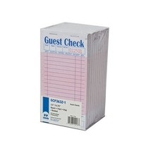 Royal Pink Guest Check Board, 1 Part Booked with 15 Lines, Package of 10... - $11.73