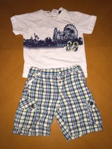 Baby Boys Toddlers DKNY Summer Outfit Blue Plaid Shorts & T-Shirt Size 1... - $9.89
