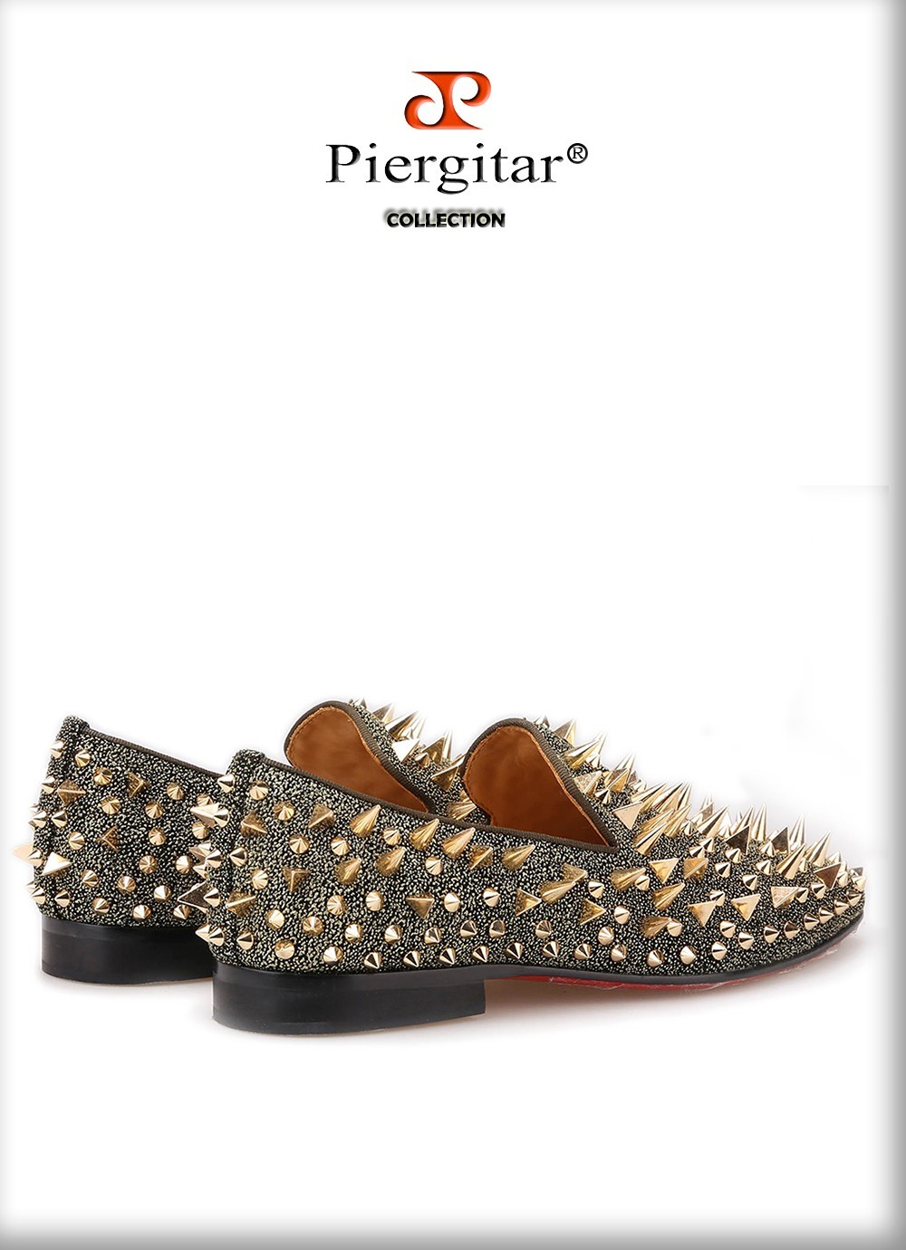 Exclusive Handmade Piergitar Gold Rivets Men's Red Bottom Luxury Fashion Shoes!