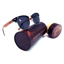 Handcrafted Walnut Wood Club Style Sunglasses With Case, Polarized - $39.99