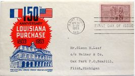 April 30, 1953 First Day of Issue, Ken Boll Cover, Louisiana Purchase #6 - $2.09