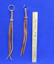 Braided Leather Keychains Key Chain Fringe Dangle Brown Black Cowboy Wes... - $8.99