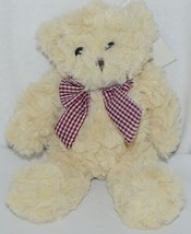 Baxters Bears Brand Light Brown Teddy With Maroon White Gingham Bow - $9.99