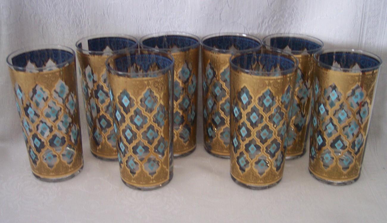 Vintage culver valencia tumblers glasses set of 8 elegant - Vintage valencia ...