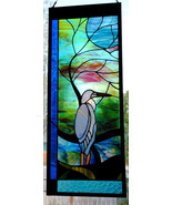 Blue Heron with Moonlit Tree Leaded Stained Glass Window Colorado art - $199.00