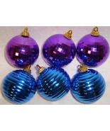 Vtg Plastic PURPLE Disco & BLUE Ribbed Christma... - $12.99