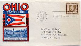 March 2, 1953 First Day of Issue, Ken Boll Cover, Ohio Statehood #5 - $2.60