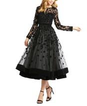 MAC DUGGAL Floral-Embellished Fit & Flare Midi Dress Black Size 2 $498 - $252.44