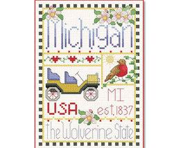 Michigan Little State Sampler cross stitch chart Alma Lynne Originals - $6.50