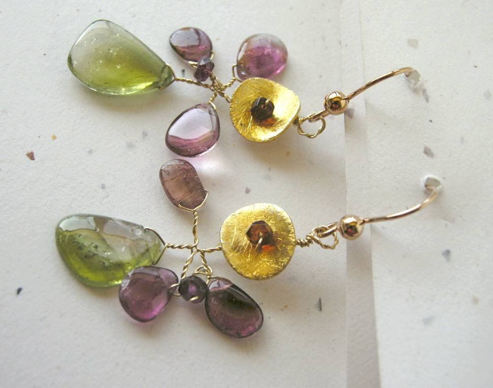 Tourmaline Slices Gold filled Camp Sundance earrings