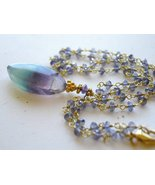 Iolite necklace, Fluorite pendant, Gold filled ... - $153.16