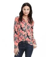 Banana Republic Bird Print Popover Blouse Polyester Cantaloupe Size M Pr... - $54.99