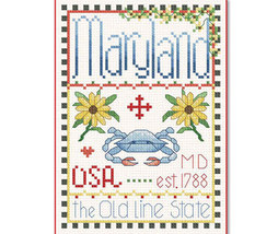 Maryland Little State Sampler cross stitch chart Alma Lynne Originals - $6.50