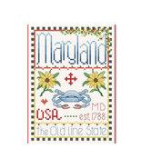 Maryland Little State Sampler cross stitch chart Alma Lynne Originals - $6.50