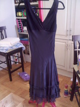 Vintage BCBG Black Chiffon V Neck Dress Size 6 NWOT - $49.99