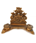 Antique Inkwell Art Nouveau Rococo Italy, Solid Brass Desk Decor Mail Or... - $225.00