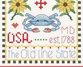 Maryland Little State Sampler cross stitch chart Alma Lynne Originals