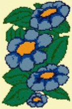 Latch Hook Rug Pattern Chart: Blue Asters - EMAIL2u - $5.75