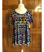 LuLaRoe Black Multi Floral Print Perfect T Tunic Top XS - $14.85
