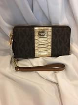 Michael Kors Center Stripe Large Multi Function Wallet Phone Case Brown Wristlet - $78.94