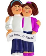 SISTERS BEST FRIENDS BFF ORNAMENT COUSINS GIFT BOTH BRUNETTE PERSONALIZE... - $14.99