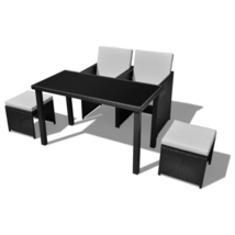 Outdoor Patio Rattan Dining Set Garden Cube Storage Table 2 Chairs 2 Stool Black image 3