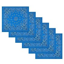 6 Pack 100% Cotton Handkerchiefs Square Bandanas Turquoise Scarves Unise... - $11.62