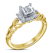 Princess Cut Diamond Yellow Gold Plated Pure 925 Silver Women's Engageme... - $71.99