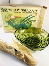 Vtg INDIANA GLASS 3 Pc OLIVE #0823 Green SALAD BOWL SET Original Box NEW... - $39.59