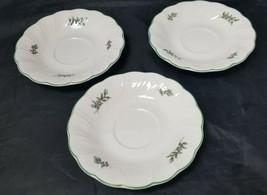 "Nikko Ceramic Saucer: Set of 3, Christmas Holly w Berries, White, 6"" Pla... - $19.34"
