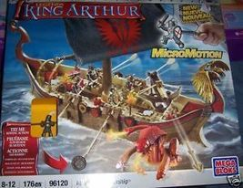 Mega Bloks King Arthur Attack Action Warship Launching Canon 6 Headed Dr... - $30.00