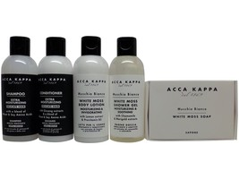 Acca Kappa White Moss Travel Set Shampoo, Conditioner, Lotion, Shower Ge... - $24.99