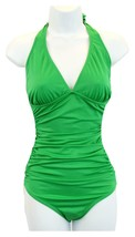 J Crew Women's Ruched Halter One-Piece Swimsuit/Bathing Suit 27781 14 Green - $32.19