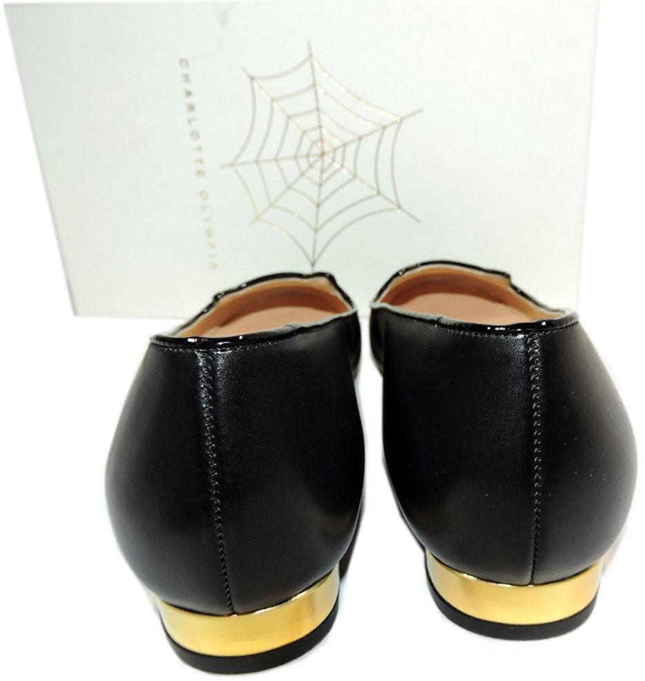 Charlotte Olympia Blck Leather Kitty Smoking Slipper Flats Shoe Ballets 40-9 Cat image 7
