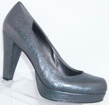 Calvin Klein 'Scarlet' metallic crinkle silver leather round platform heel 5.5M - $32.40