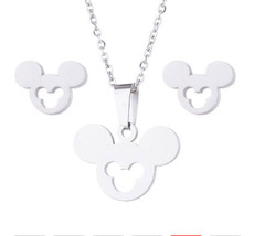 Sterling Silver Mickey Mouse Inspired Necklace Stud Earring Set - $52.00+