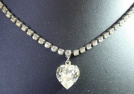 Lovely Rhinestone Necklace With Crystal Heart Dangle Wedding or Other Wear - $24.99